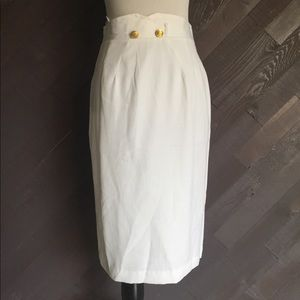 Vintage White High Waisted Pencil Skirt